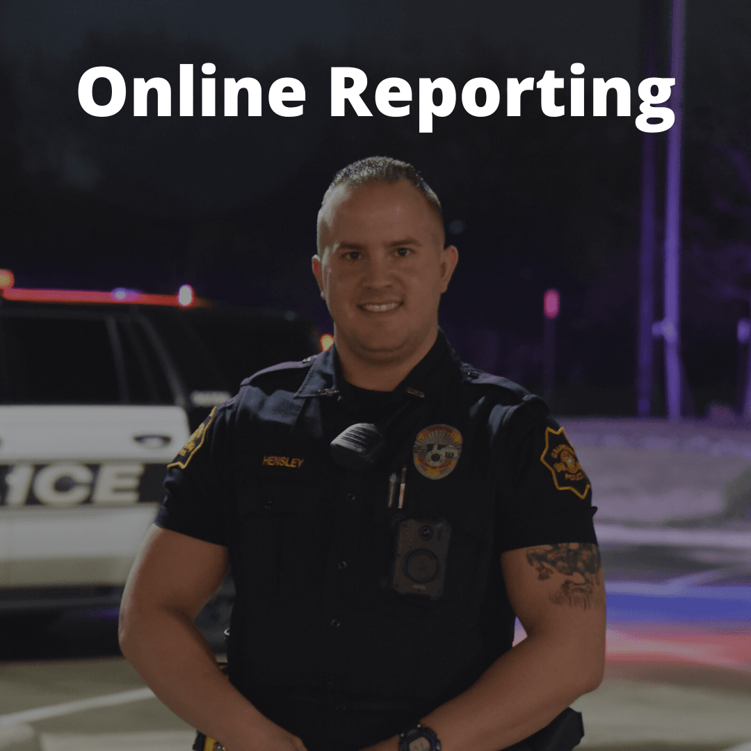 photo of patrol officer and the words online reporting
